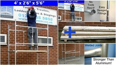 "DIY Scaffold Tower / Boards Option 3.5m (4' x 2'6"" x 11'6"" WH) Galvanised Steel 10"