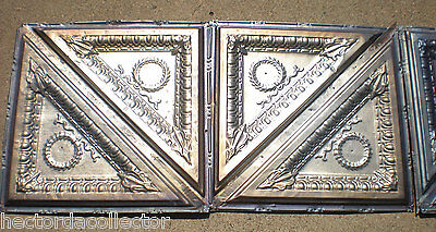 SALE!! 2 Antique Iridescent Victorian Ceiling Tin Tiles Acanthus Wreath Egg Dart 3