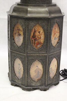 18th Century Style Pewter Tea Canister w/Asian Scenes Behind 18 Glass Panels 2