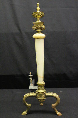 "Pair of Neoclassical Gilt Metal and Onyx Andirons, circa 1900, 26"" X 20"" 12"