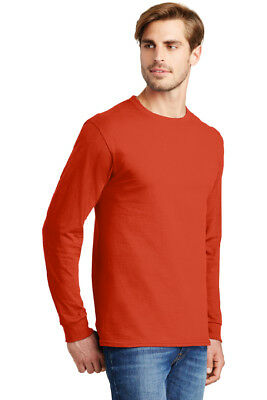 4 PACK Hanes Tagless Cotton Long Sleeve T Shirt Mens Blank Casual Plain Lot 5586