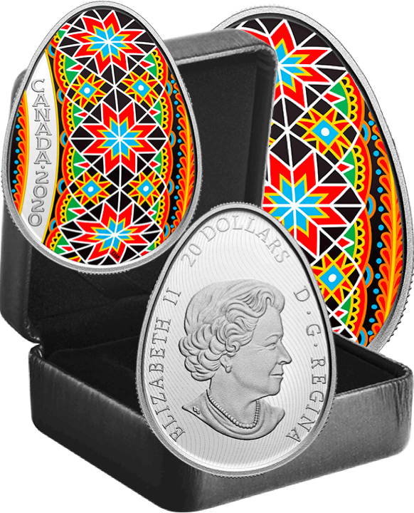 2020 Traditional Ukrainian Pysanka $20 1OZ Egg Shaped Silver Proof Coin Canada 3