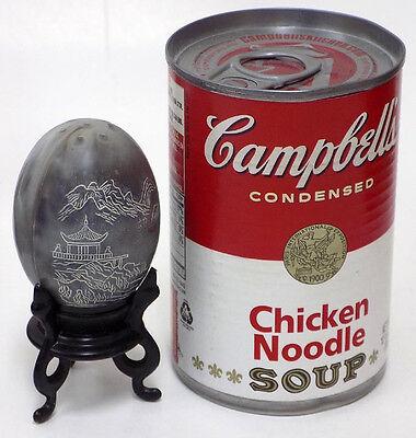 Vintage Hong Kong Plastic Salt & Pepper Eggs w'  Etched Asian Scene on Stands