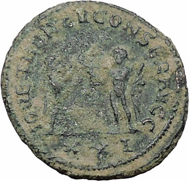 DIOCLETIAN receiving Victory on globe from  JUPITER  Ancient Roman Coin  i47646 2