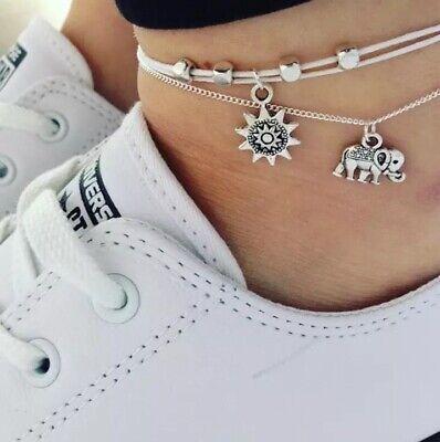 UK Women Ankle Bracelet Sterling Silver/Gold Anklet Foot Chain Boho Beads 5