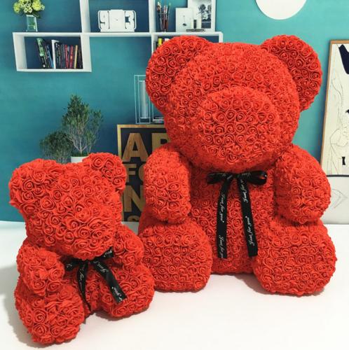 25/40cm Mother's Day Rose Bear Foam Flower Lovely Teddy Valentine Birthday Gift 9