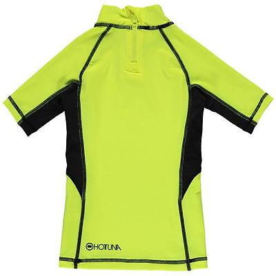 HOT TUNA Kids Rash Vest Top Swimming YELLOW SHORT SLEEVE SunTop High Vis 50+UV