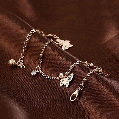 UK Women Ankle Bracelet Sterling Silver/Gold Anklet Foot Chain Boho Beads 3