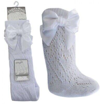 Baby Girls BOW Pellerine Socks Knee High white Grey Pink 2