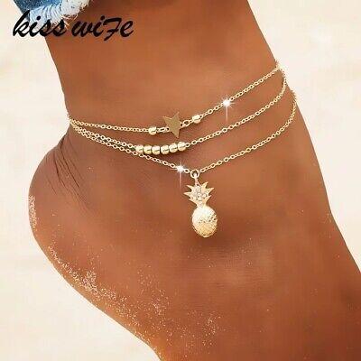 UK Women Ankle Bracelet Sterling Silver/Gold Anklet Foot Chain Boho Beads 2