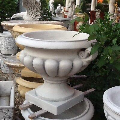 Skulpturen Pflanzschale Blumenschale Gartendeko Pflanzamphore 65 cm Steinguss