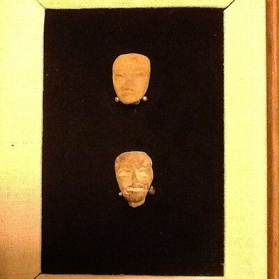 (8) Precolumbian Pottery Fragment Heads, mounted in (2) frames 8