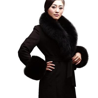 49f2d2c10446 1 sur 4Seulement 5 disponibles Chic Echarpe Châle Etole Femme Fourrure Vraie  de Renard Col de Parkas Velu Noir