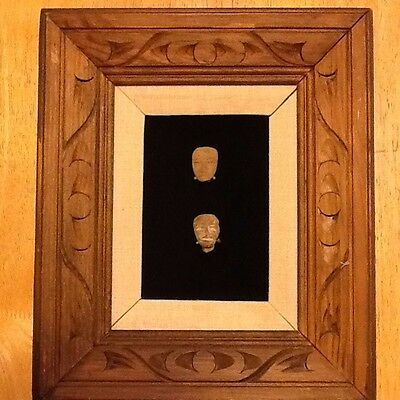 (8) Precolumbian Pottery Fragment Heads, mounted in (2) frames 2