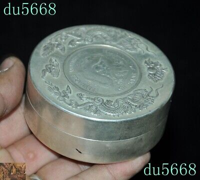 Chinese dynasty Tibetan silver double Dragon Loong coin small Storage Box Boxes 2