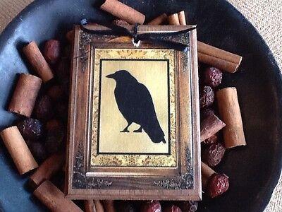 5 WOODEN Black Crow Halloween HangTags,Ornaments,Crow ORNIES SETw Handcrafted