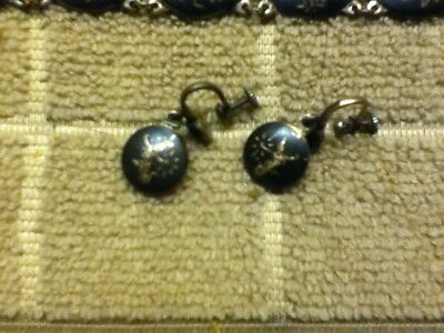 Vintage Siam Sterling Silver Black Enameled Panel Bracelet & Earrings 3