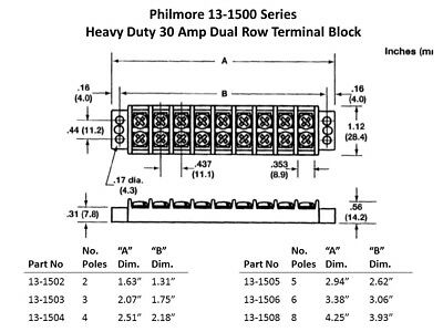 Philmore 13-1503 Heavy Duty 3 Pole 30A Dual Row Terminal Block Barrier Strip