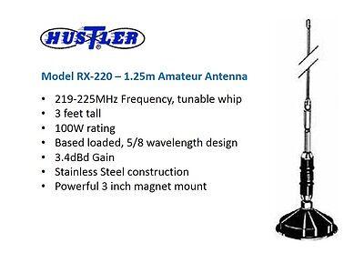 HUSTLER RX-220 5/8 WAVE 1 25m 225MHz VHF MOBILE RADIO ANTENNA MAGNETIC MOUNT