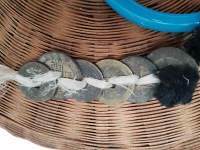 Antique Vintage Chinese Sewing Basket Glass Ring Handles Beads + Coins 8