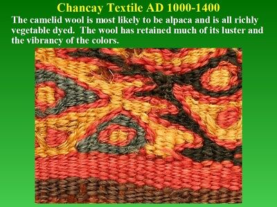 Pre-Columbian Chancay Textile Fragment AD1000-1400 SUPERB museum quality nice 9