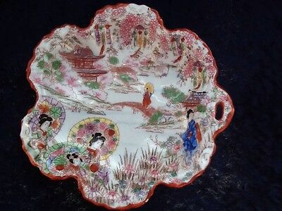 Kutani Geisha Set Of Four Serving Bowls Vintage Japanese 11
