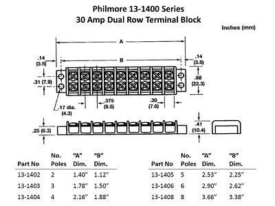 Philmore 13-1403 3 Pole 30A Dual Row Terminal Block Barrier Strip