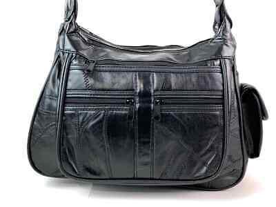 Real Leather Handbag Cross Body Long Shoulder Strap Women Black Travel Work 8