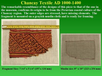 Pre-Columbian Chancay Textile Fragment AD1000-1400 SUPERB museum quality nice 7