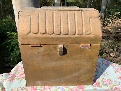 Antique Decorative Brass and Timber Wood Treasure Chest Trunk Wine Bottle Box 8