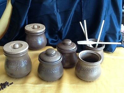 6 alte große Keramik DOSE Deckeldose Dosen Vorratsgefässe KAFFEE & TEE handarbei 6