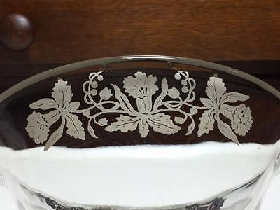 Vintage Viking glass scroll bowl with silver overlay daffodils 8