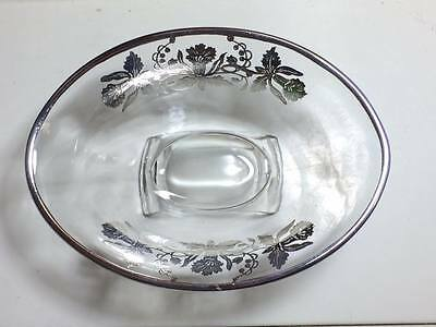 Vintage Viking glass scroll bowl with silver overlay daffodils 4
