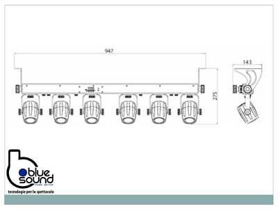 PROLIGHTS 6BEAMQ Kit composto di 6x12W LED RGBW cambiacolori, angolo 14,8°, IP30 6