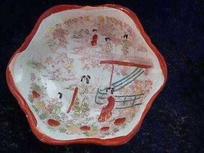 Kutani Geisha Set Of Four Serving Bowls Vintage Japanese 7