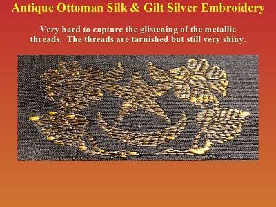 Antique Ottoman Textile Fragment Silk Gilt Silver Embroidery 19th century Turkey 7