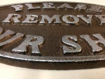 """Please Remove Your Shoes"" Sign Oval Plaque cast iron metal Brown Silver Letters 5"