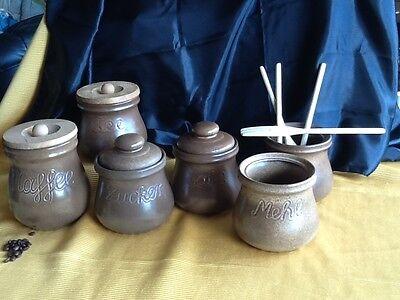 6 alte große Keramik DOSE Deckeldose Dosen Vorratsgefässe KAFFEE & TEE handarbei 8