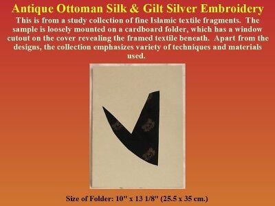 Antique Ottoman Textile Fragment Silk Gilt Silver Embroidery 19th century Turkey 3