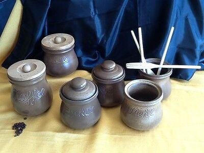 6 alte große Keramik DOSE Deckeldose Dosen Vorratsgefässe KAFFEE & TEE handarbei 7