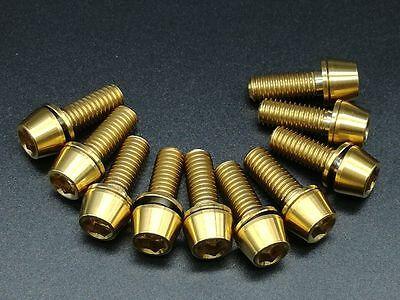 10pcs//lot Titanium Ti M6x30mm Tapered Hex Allen Head Bolts for Bike Headset