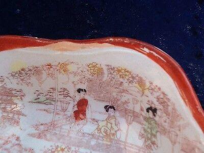 Kutani Geisha Set Of Four Serving Bowls Vintage Japanese 8