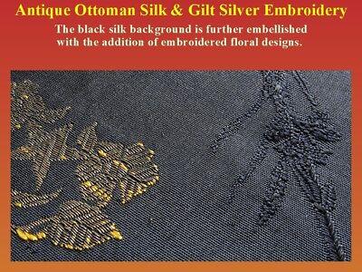 Antique Ottoman Textile Fragment Silk Gilt Silver Embroidery 19th century Turkey 6