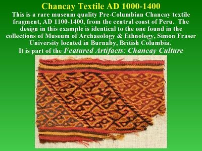 Pre-Columbian Chancay Textile Fragment AD1000-1400 SUPERB museum quality nice 6