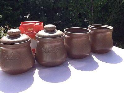 6 alte große Keramik DOSE Deckeldose Dosen Vorratsgefässe KAFFEE & TEE handarbei 9