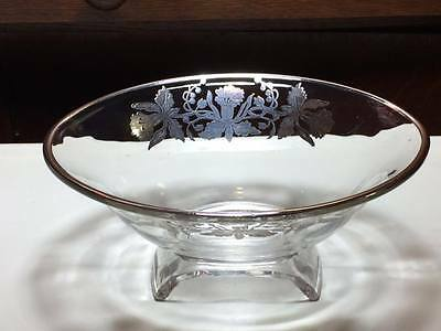 Vintage Viking glass scroll bowl with silver overlay daffodils 2