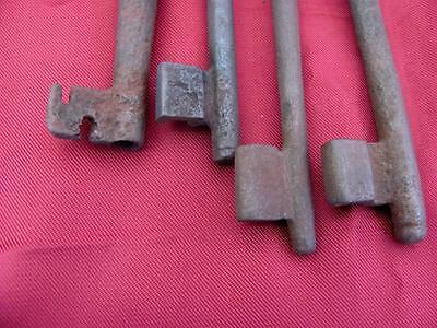 19C. Antique Prison Jail Cell Door Lock Iron Barrel Keys Set Of 4