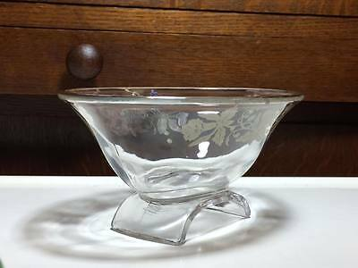 Vintage Viking glass scroll bowl with silver overlay daffodils 7