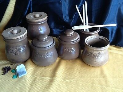 6 alte große Keramik DOSE Deckeldose Dosen Vorratsgefässe KAFFEE & TEE handarbei 3