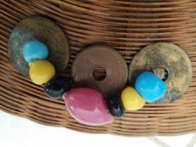Antique Vintage Chinese Sewing Basket Glass Ring Handles Beads + Coins 10